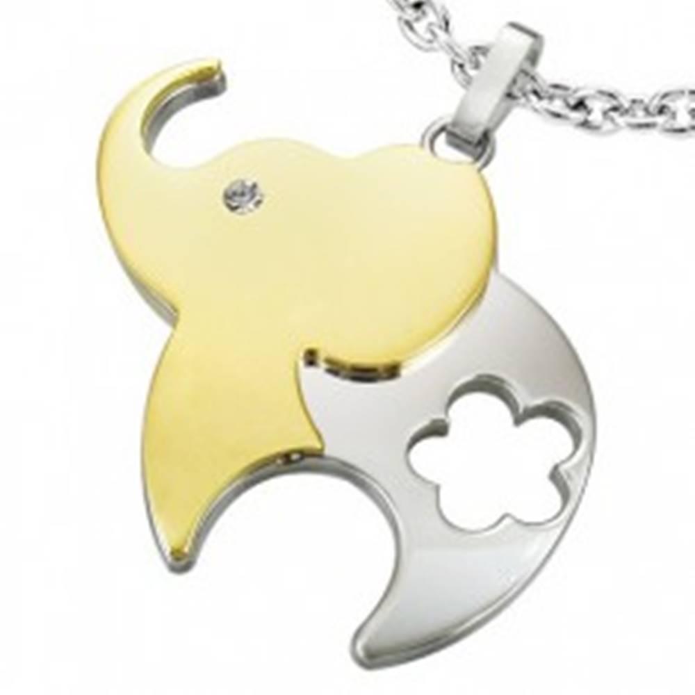 Šperky eshop Prívesok z chirurgickej ocele, dvojfarebný slon s kvetom a zirkónom