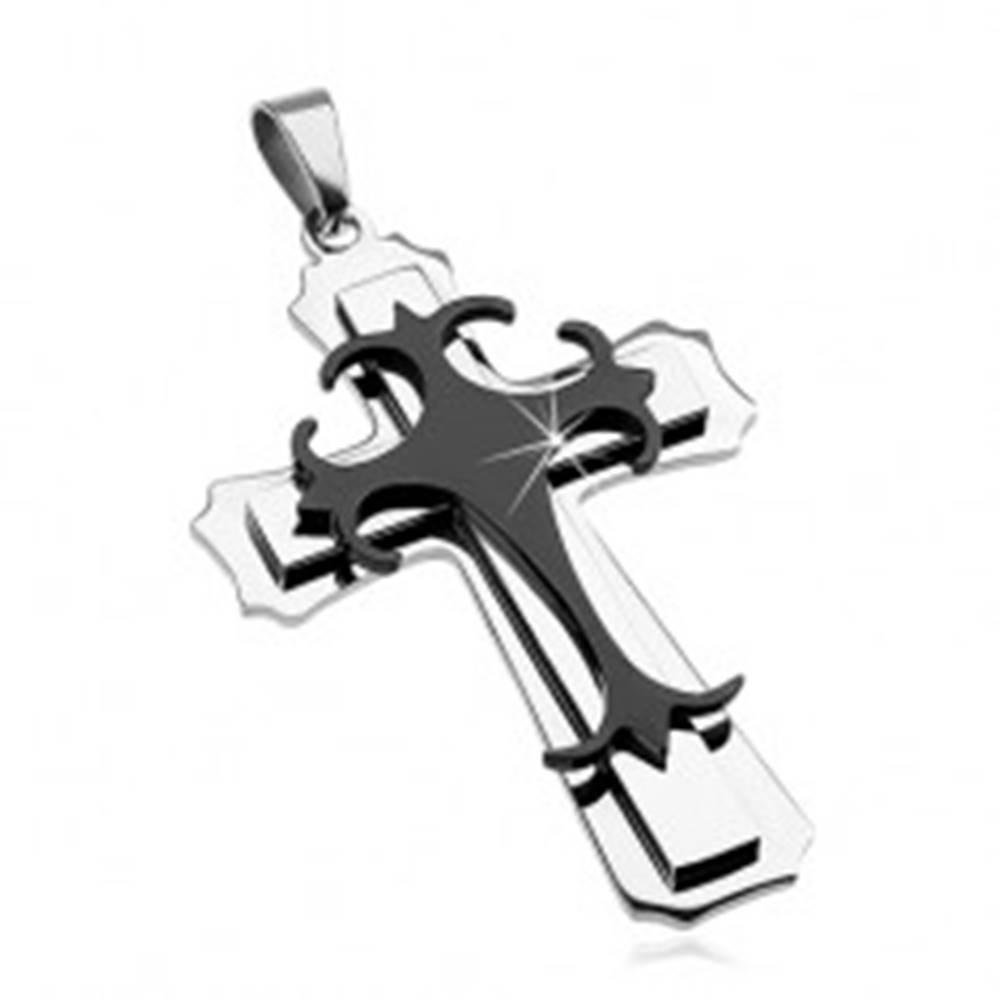 Šperky eshop Prívesok z chirurgickej ocele - veľký kríž, kombinácia čiernej a striebornej farby