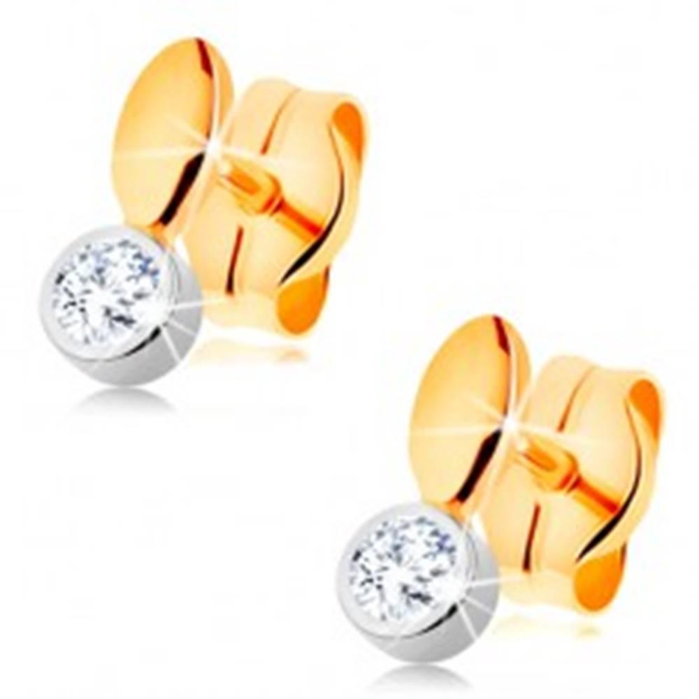 Šperky eshop Puzetové náušnice v 14K zlate - dvojfarebné prevedenie, malé zrnko a zirkón v objímke