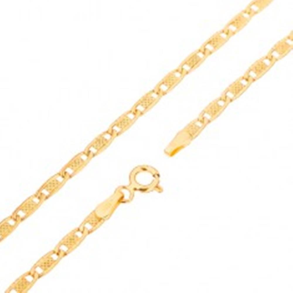 Šperky eshop Retiazka zo žltého 14K zlata - podlhovasté oválne články s mriežkou, 545 mm