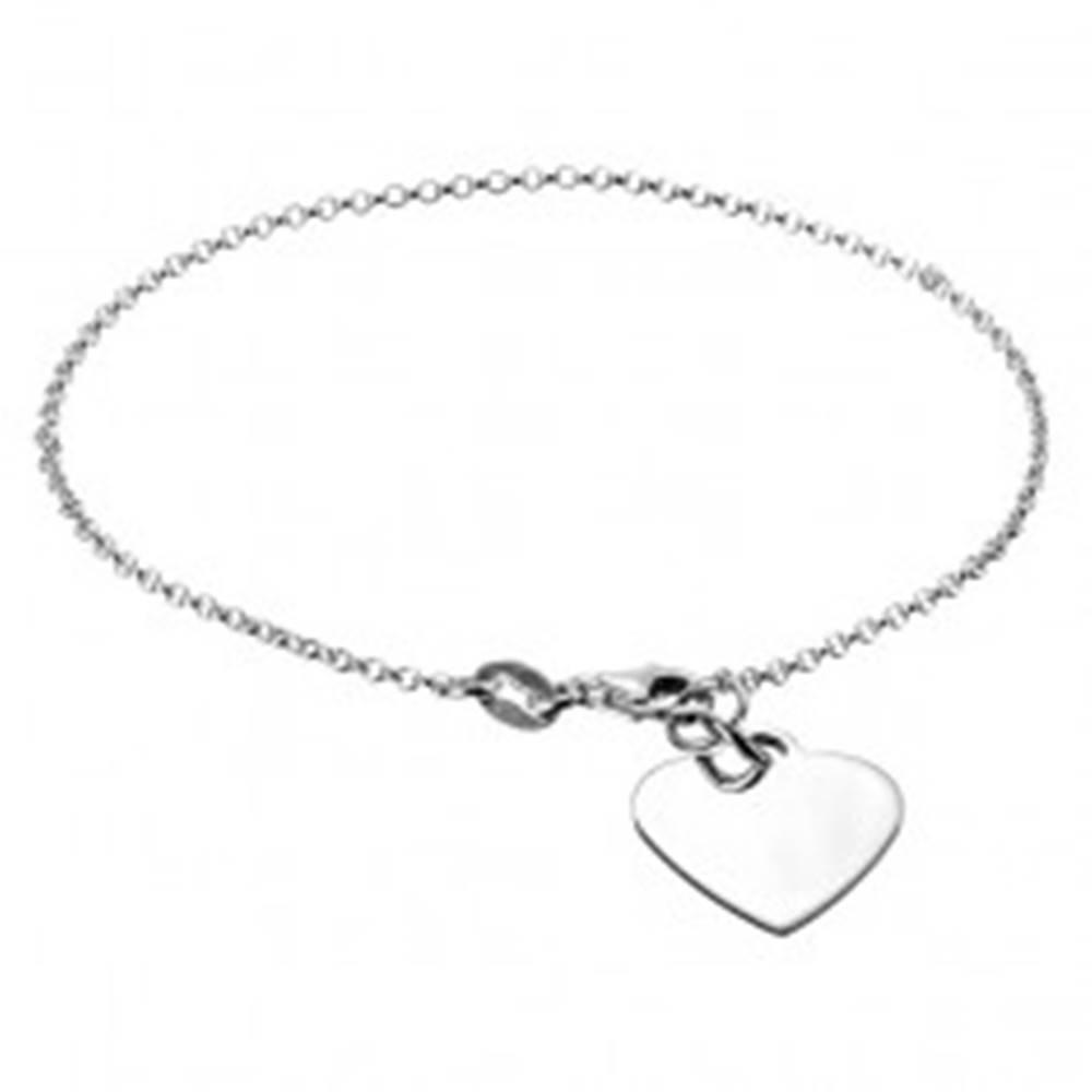 Šperky eshop Strieborná retiazka 925 na ruku s plochým srdcom a karabínkou