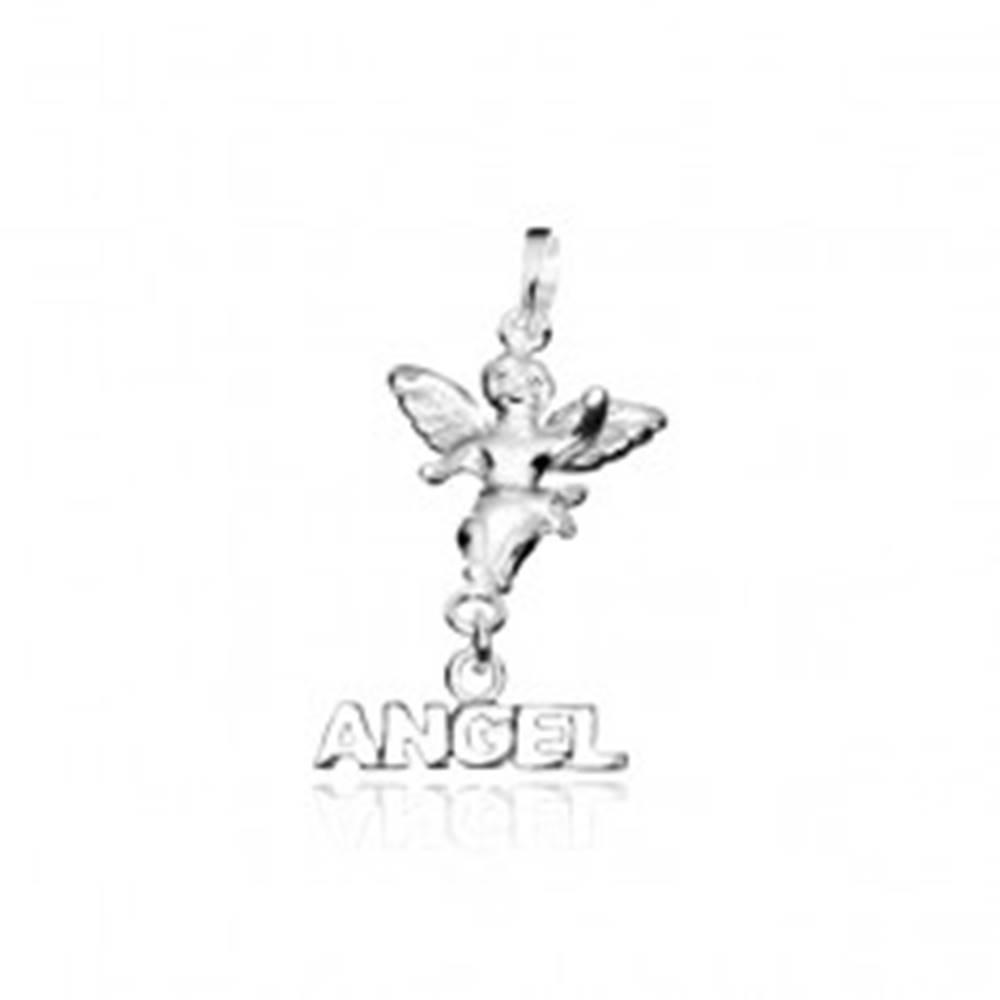 Šperky eshop Strieborný prívesok 925 - malý anjelik s nápisom ANGEL
