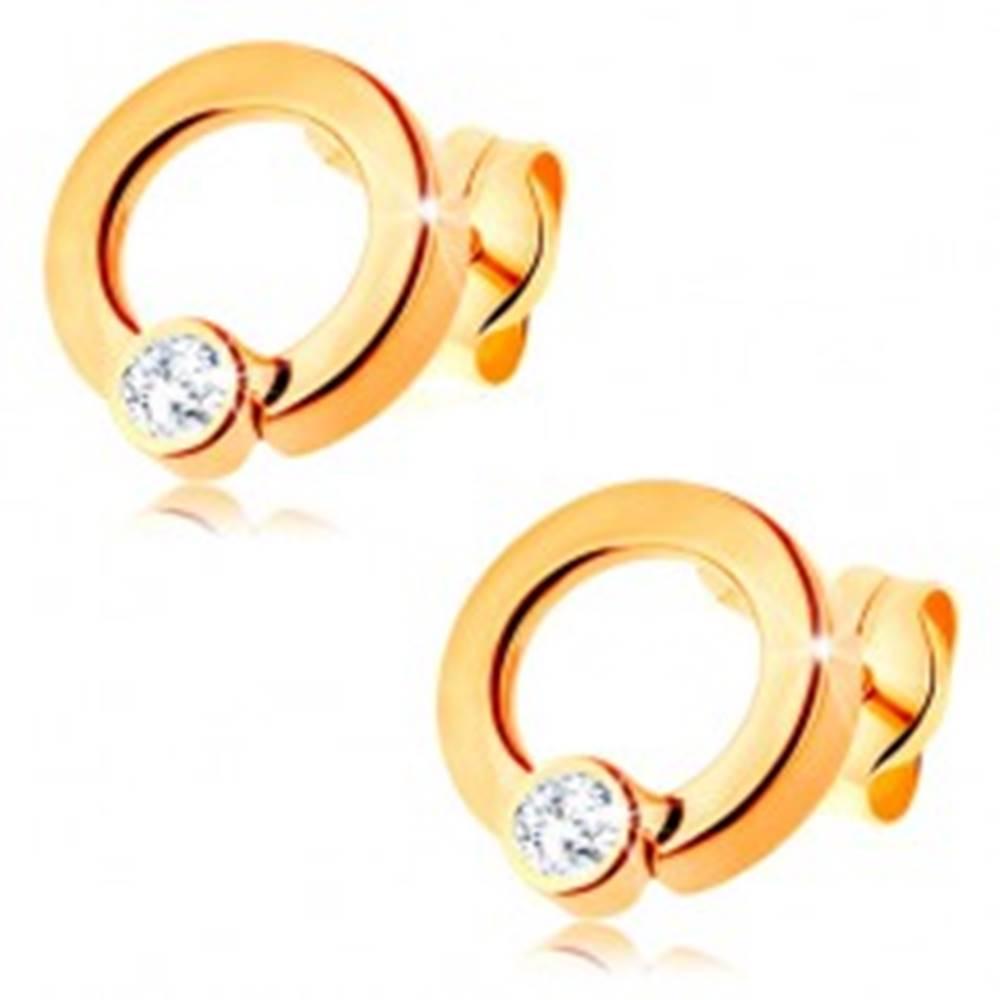 Šperky eshop Zlaté náušnice 585 - lesklá obruč so zirkónikom čírej farby v spodnej časti