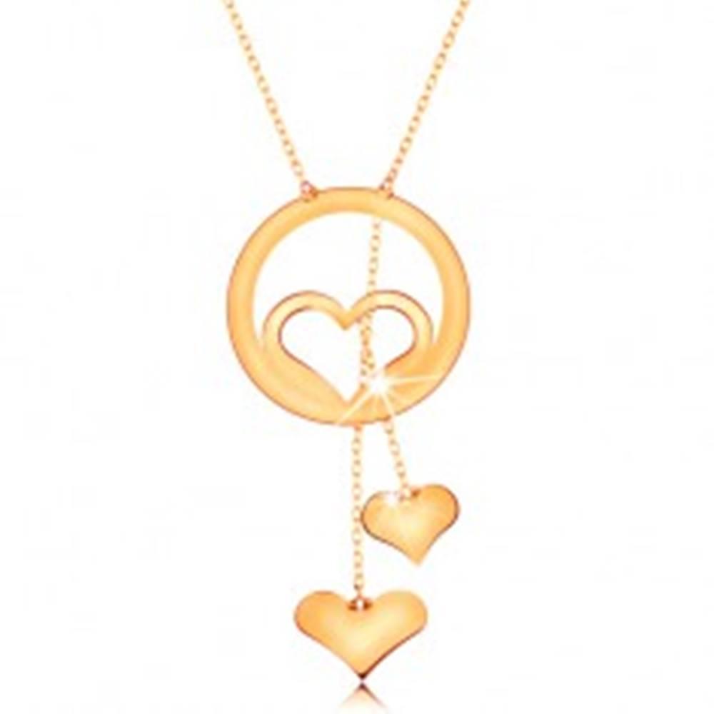 Šperky eshop Zlatý náhrdelník 585 - kontúra srdca v obruči a dve visiace srdiečka na retiazkach