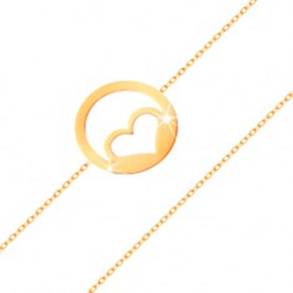 Šperky eshop Zlatý náramok 585 - kontúra súmerného srdca v obruči, vysoký lesk