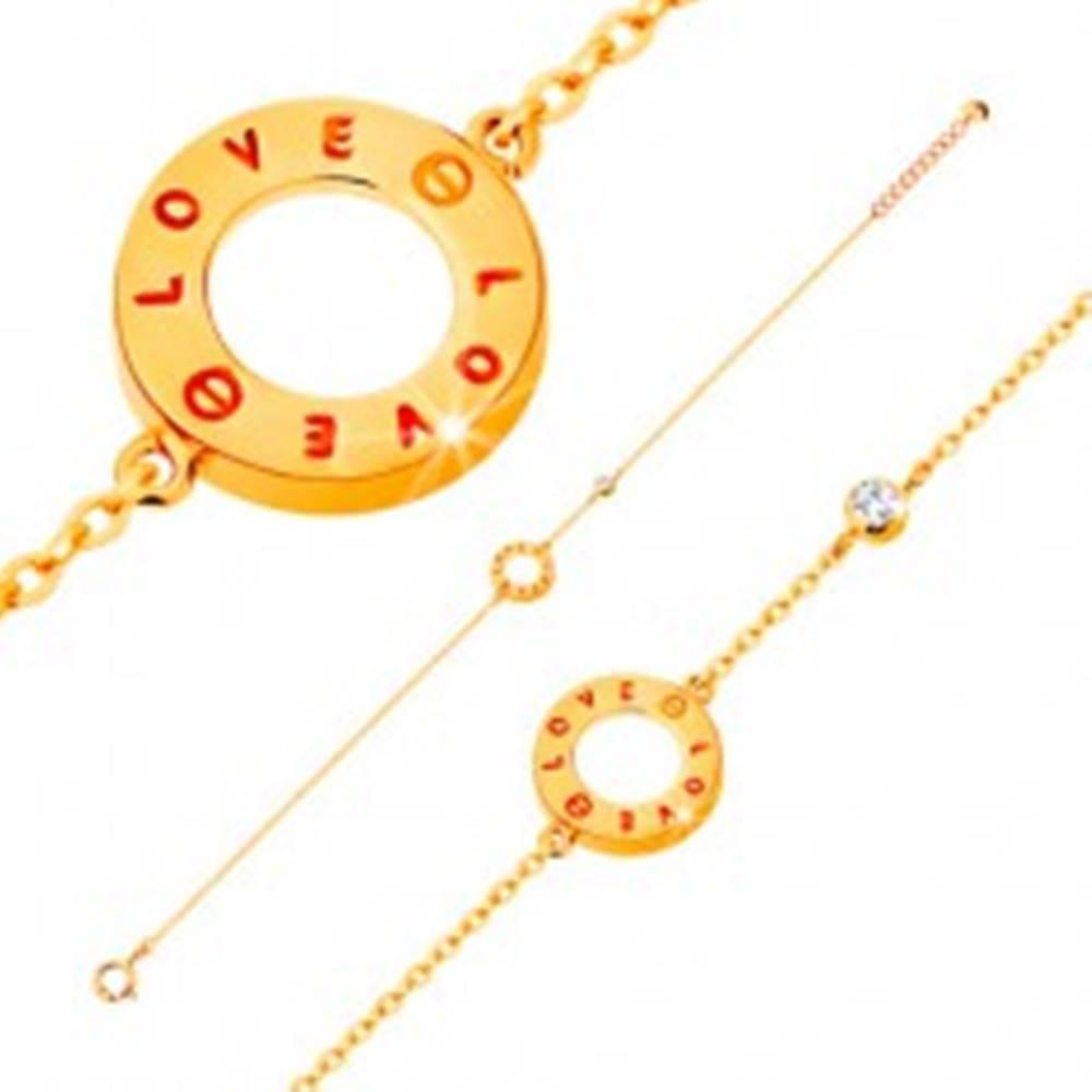 Šperky eshop Zlatý náramok 585 - obrys kruhu s nápismi LOVE, zirkón čírej farby