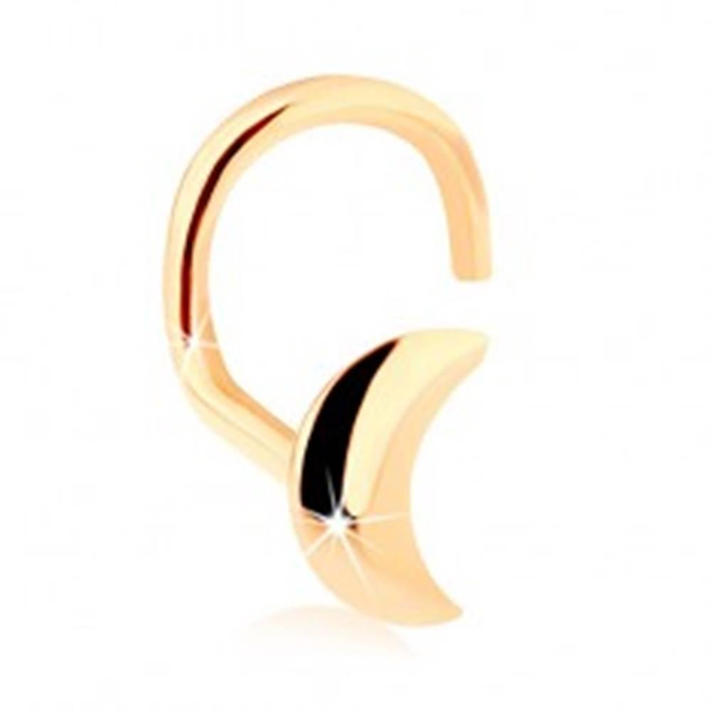 Šperky eshop Zlatý zahnutý piercing do nosa 585, lesklý kosáčik mesiaca