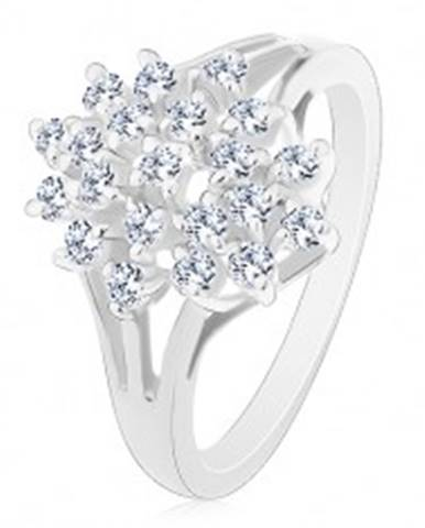 Lesklý prsteň - strieborná farba, rozvetvené ramená, číre okrúhle zirkóny AC18.22 - Veľkosť: 48 mm