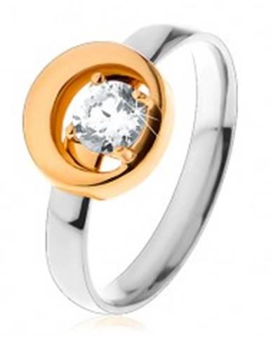 Prsteň z ocele 316L, okrúhly číry zirkón v kruhu s výrezom, dvojfarebný S24.21 - Veľkosť: 49 mm