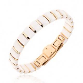 Biely náramok z obdĺžnikových keramických článkov, prúžky zlatej farby