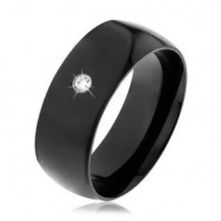 Čierna oceľová obrúčka, lesklý vypuklý povrch, okrúhly číry zirkón - Veľkosť: 56 mm