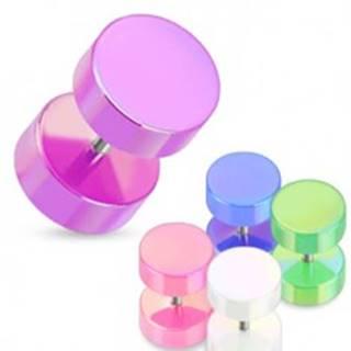 Falošný plug do ucha - farebné valčeky s perleťovým povrchom - Farba piercing: Biela