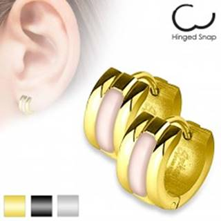 Kĺbové náušnice z chirurgickej ocele, vypuklý svetloružový pás perlete, rôzne farby - Farba: Čierna