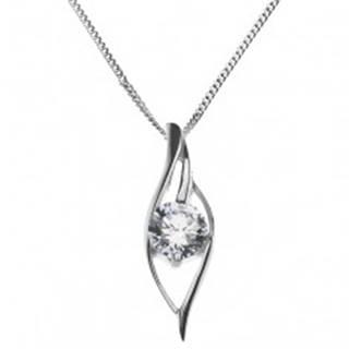 Lesklý náhrdelník - zvlnená silueta oka so zirkónom, striebro 925