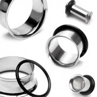 Lesklý oceľový tunel do ucha s čiernou gumičkou - Hrúbka: 10 mm