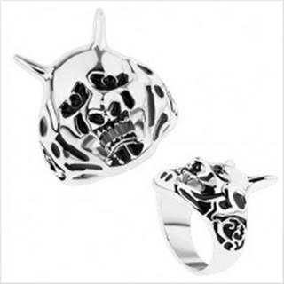 Masívny prsteň z ocele 316L, patinovaný čert, zdobené ramená - Veľkosť: 59 mm