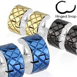 Náušnice z chirurgickej ocele - farebné kruhy s lemom striebornej farby - Farba: Čierna