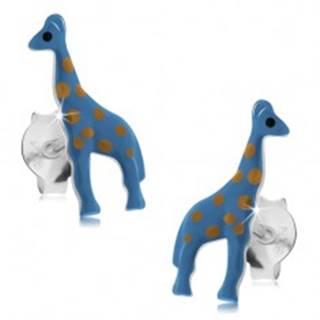 Náušnice zo striebra 925, modrá žirafa so svetlohnedými bodkami, puzetky
