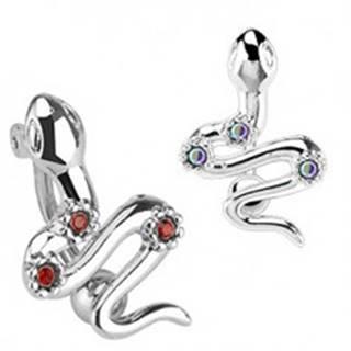 Oceľový piercing do pupka - had s tromi farebnými zirkónmi - Farba zirkónu: Červená - R