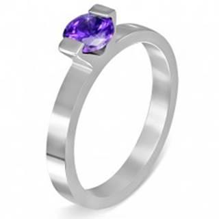"""Oceľový prsteň - mesačný kameň """"Február"""", dva úchyty - Veľkosť: 52 mm"""