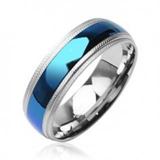 Oceľový prsteň - modrý pruh v strede, vrubkované okraje - Veľkosť: 59 mm