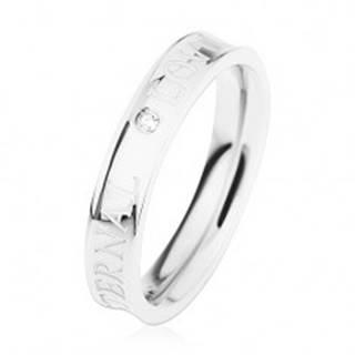 Oceľový prsteň striebornej farby, vyhĺbený stred, číry zirkónik, ETERNAL LOVE - Veľkosť: 49 mm