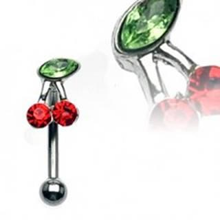 Piercing do obočia - čerešňa so zelenými a červenými zirkónmi