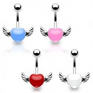 Piercing do pupka z chirurgickej ocele - farebné srdce s krídlami - Farba piercing: Biela