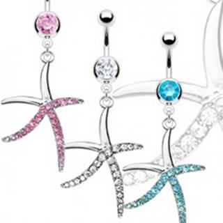 Piercing do pupka z ocele - zirkónová hlavička a štíhla hviezdica - Farba zirkónu: Aqua modrá - Q