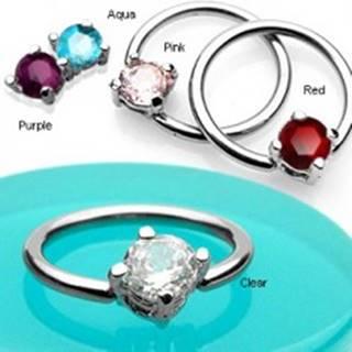 Piercing krúžok so štvorcovým zirkónom - Farba zirkónu: Aqua modrá - Q