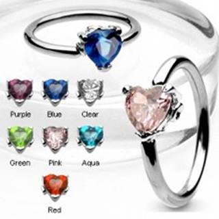 Piercing krúžok so zirkónovým srdcom - Farba zirkónu: Aqua modrá - Q