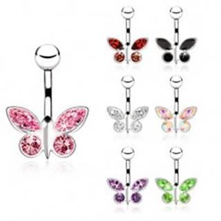 Piercing z ocele do pupku, zirkónový motýľ - rôzne farby - Farba zirkónu: Červená - R