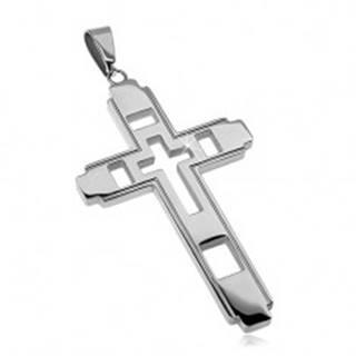 Prívesok z chirurgickej ocele, veľký kríž s vyrezávaným krížikom