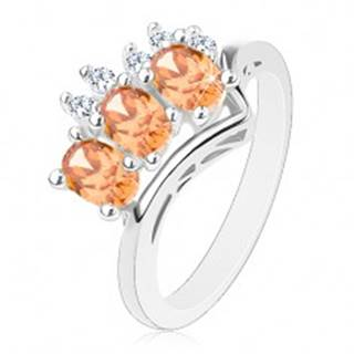 Prsteň v striebornej farbe, oranžové ovály a okrúhle číre zirkóniky - Veľkosť: 54 mm