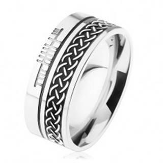 Prsteň z chirurgickej ocele, keltský vzor, strieborná farba, 8 mm - Veľkosť: 54 mm