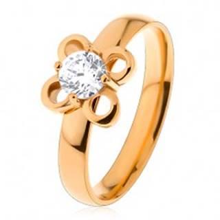 Prsteň z chirurgickej ocele v zlatom odtieni, kvietok s čírym zirkónom - Veľkosť: 49 mm