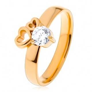 Prsteň z chirurgickej ocele zlatej farby, dva obrysy sŕdc, číry zirkón - Veľkosť: 51 mm