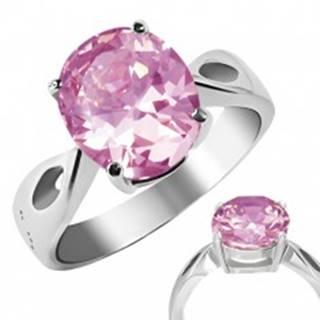 """Prsteň z ocele - ružový kameň """"Október"""", slzičkové výrezy - Veľkosť: 50 mm"""