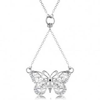 Strieborný 925 náhrdelník, retiazka a prívesok - vyrezávaný motýlik
