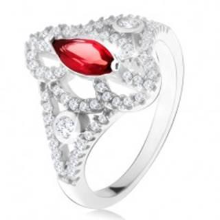 Strieborný 925 prsteň, zrniečkový červený kameň, vyrezávané zirkónové ramená - Veľkosť: 49 mm
