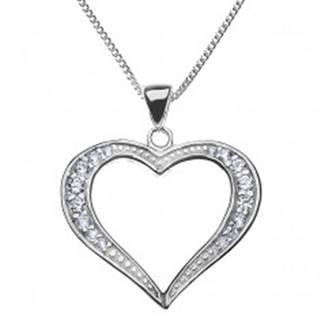 Strieborný náhrdelník 925 - širšia trblietavá silueta srdca