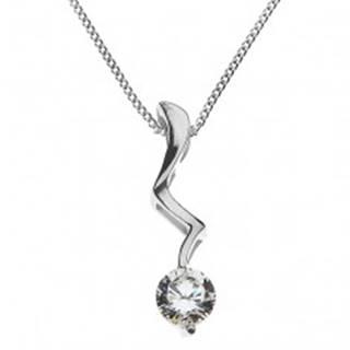 Strieborný náhrdelník - blesk ukončený čírym zirkónom, striebro 925