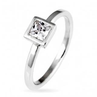 Strieborný prsteň 925 - vystúpený štvorcový zirkón v objímke - Veľkosť: 50 mm