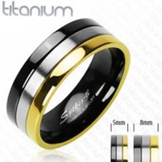 Titánové obrúčky s pruhom v ónyxovej, striebornej a zlatej farbe - Veľkosť: 49 mm