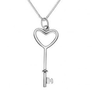 Trblietavý náhrdelník - srdcový kľúč na retiazke, striebro 925