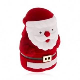 Zamatová krabička na prsteň, červeno-biela postava Mikuláša