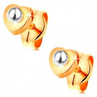 Zlaté 14K náušnice - lesklé srdiečko, guľatá biela perlička v strede