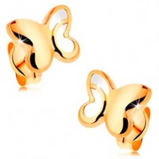Zlaté 14K náušnice - lesklý motýľ s vyrezávanou časťou na krídlach
