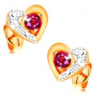 Zlaté náušnice 585 - ružový rubín v dvojfarebnom obryse srdca, gravírovanie