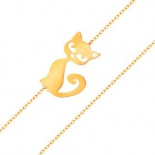 Zlatý náramok 585 - jemná ligotavá retiazka, plochý prívesok - mačička
